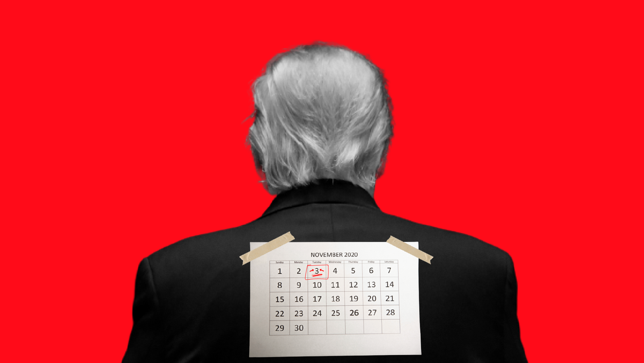 A November 2020 calendar with Tuesday, November 3 circled in red, taped to the back of President Donald Trump