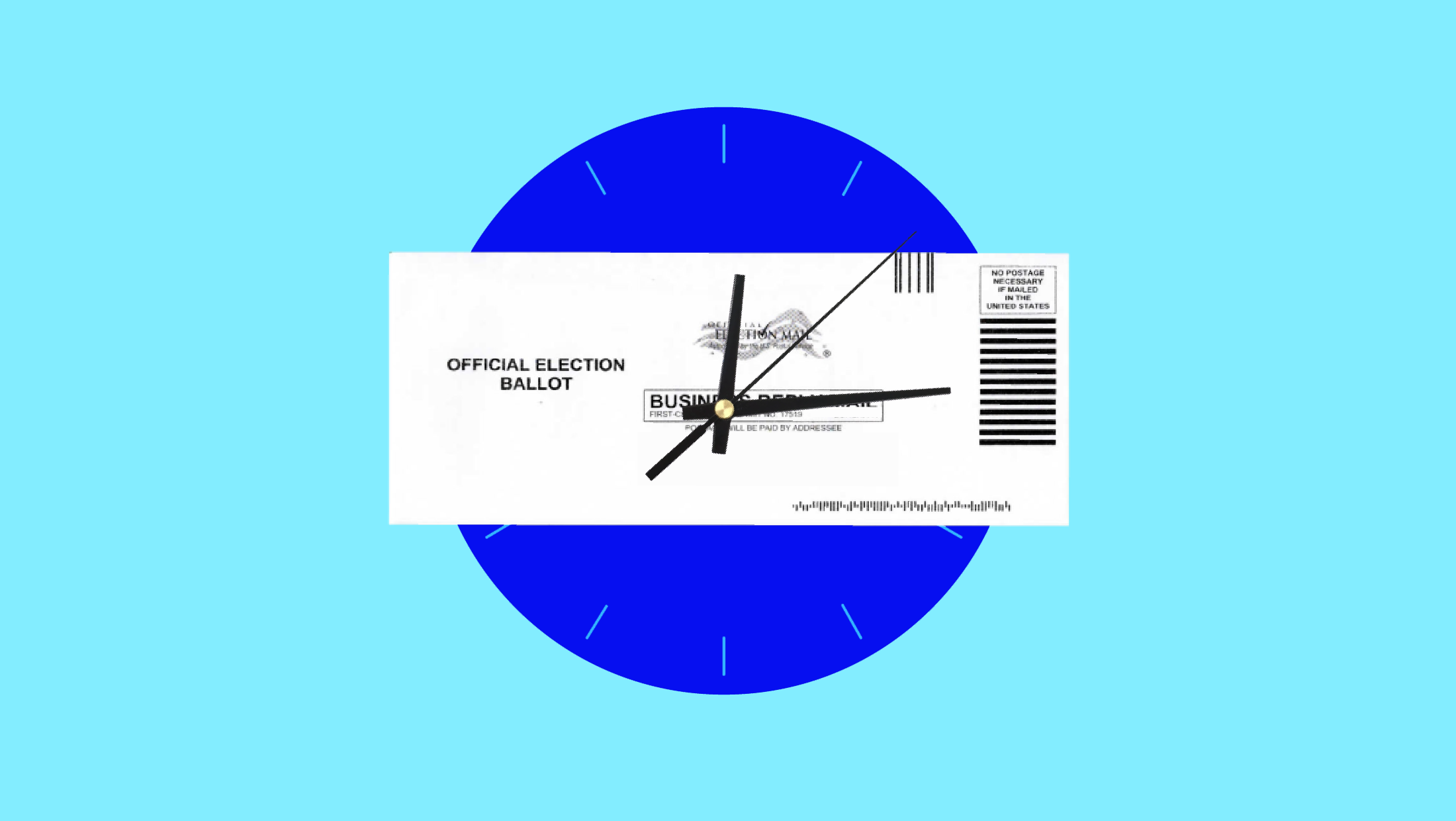 A ticking clock that has a vote by mail ballot laid across its surface