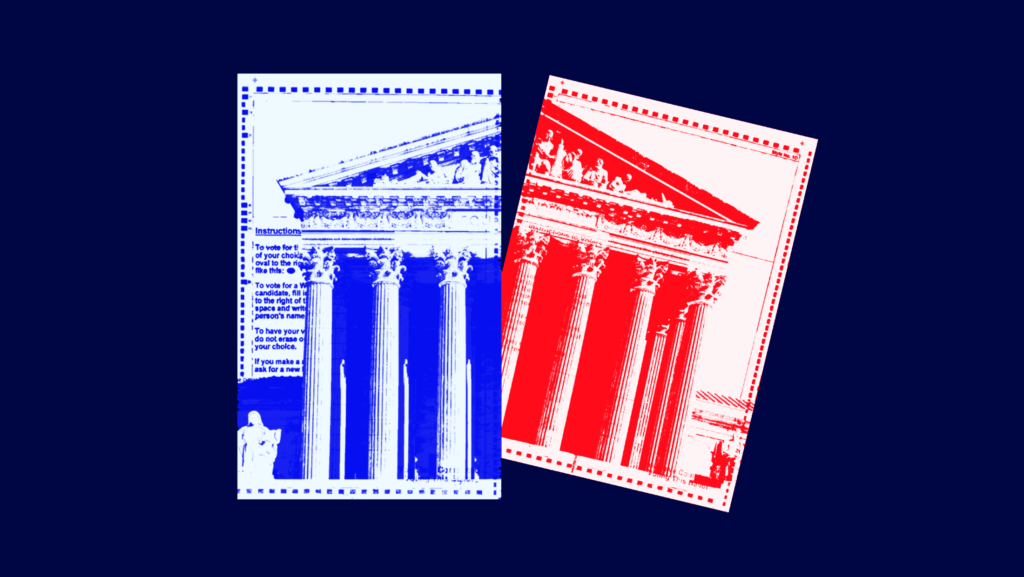 A divided U.S. Supreme Court stretched across two ballots, one ballot is tinted red and the other is tinted blue