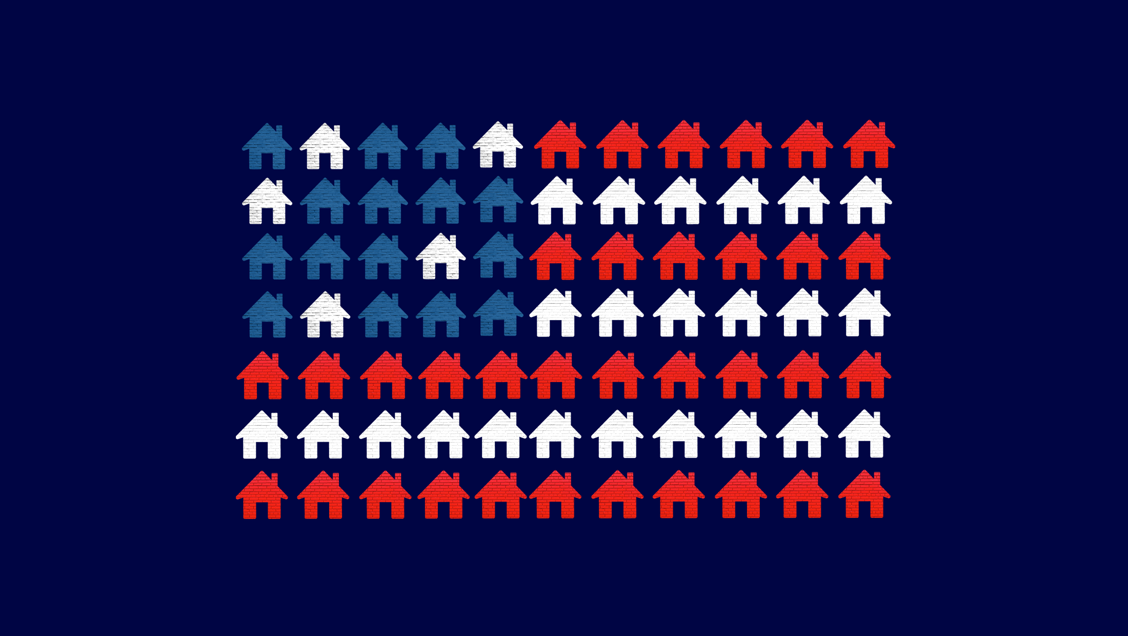 An American flag made out of individual red, white and blue houses