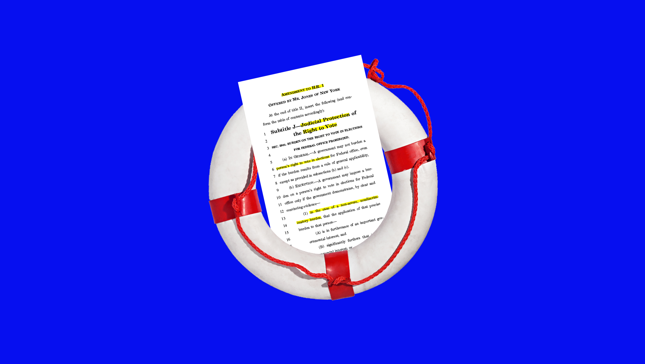 A highlighted amendment to H.R.1, For The People Act sitting inside a life preserver ring