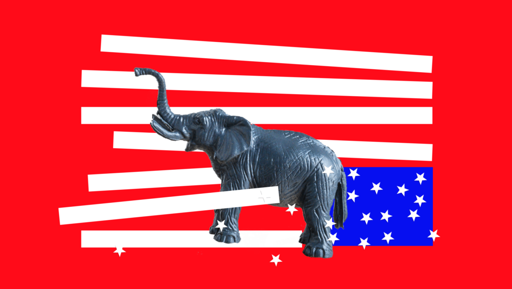 An angry-looking elephant tangled in the stripes of an upside-down American flag