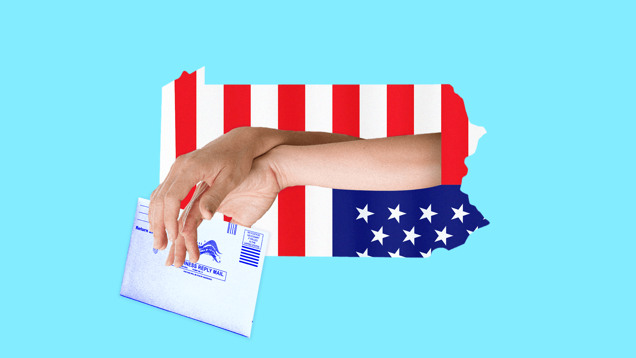 A Pennsylvania-shaped, upside-down American flag that features hands reaching through its stripes, as if they were jail bars, holding a mail ballot