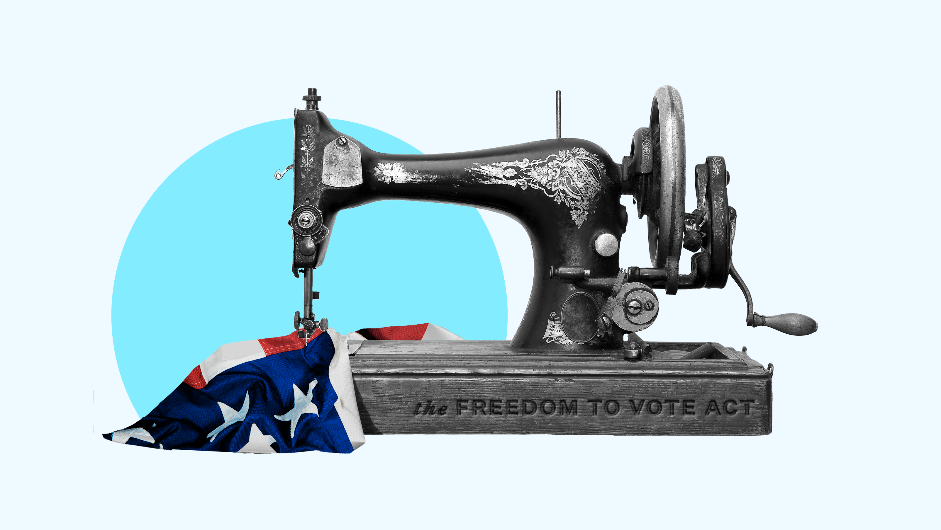 """A sewing machine that has the words """"FREEDOM TO VOTE ACT"""" etched into its base, mending an American flag"""