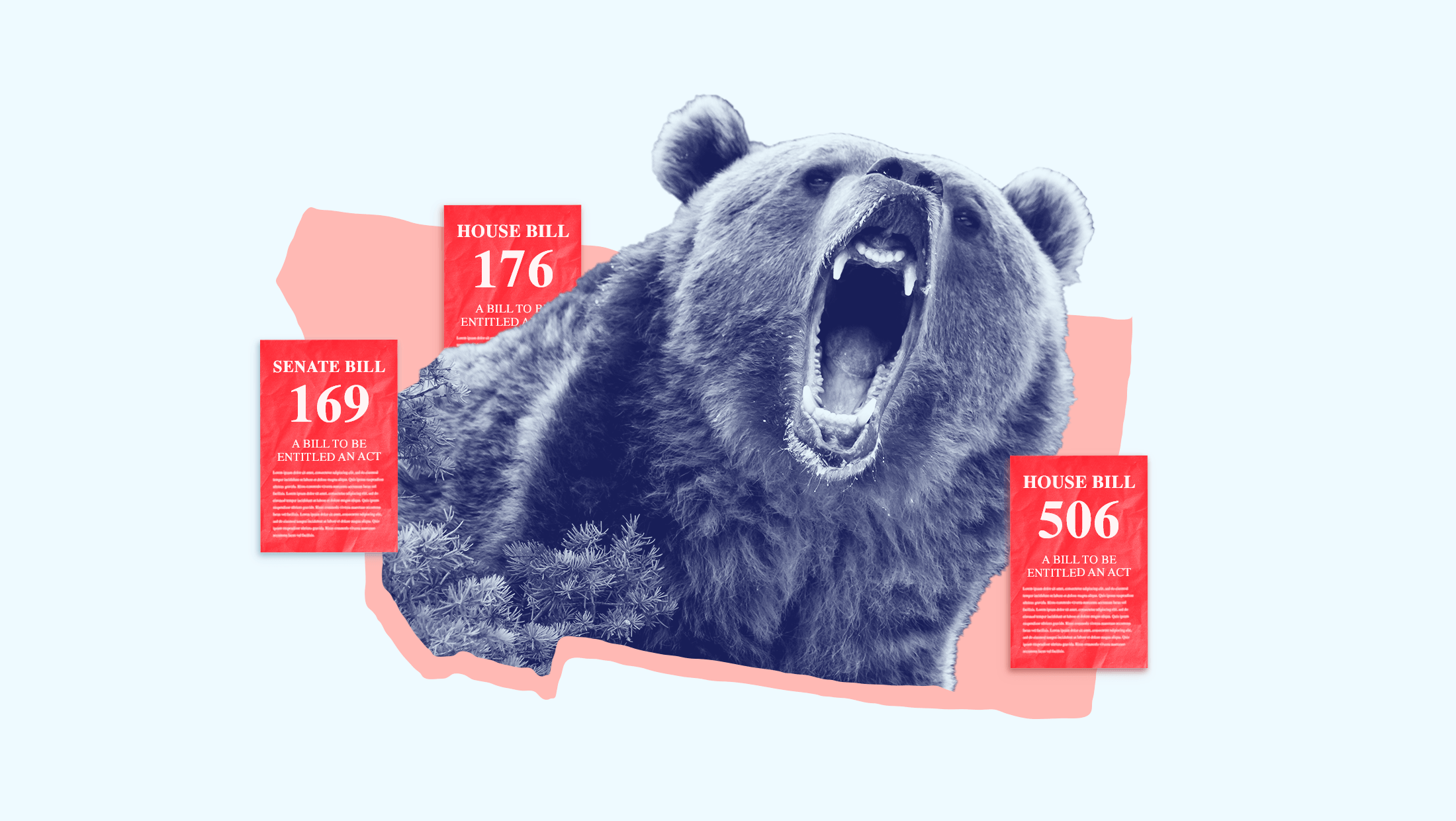 """A Montana grizzly bear surrounded by voter suppressions bills with text that say, """"HOUSE BILL 176, SENATE BILL 169, HOUSE BILL 506."""""""