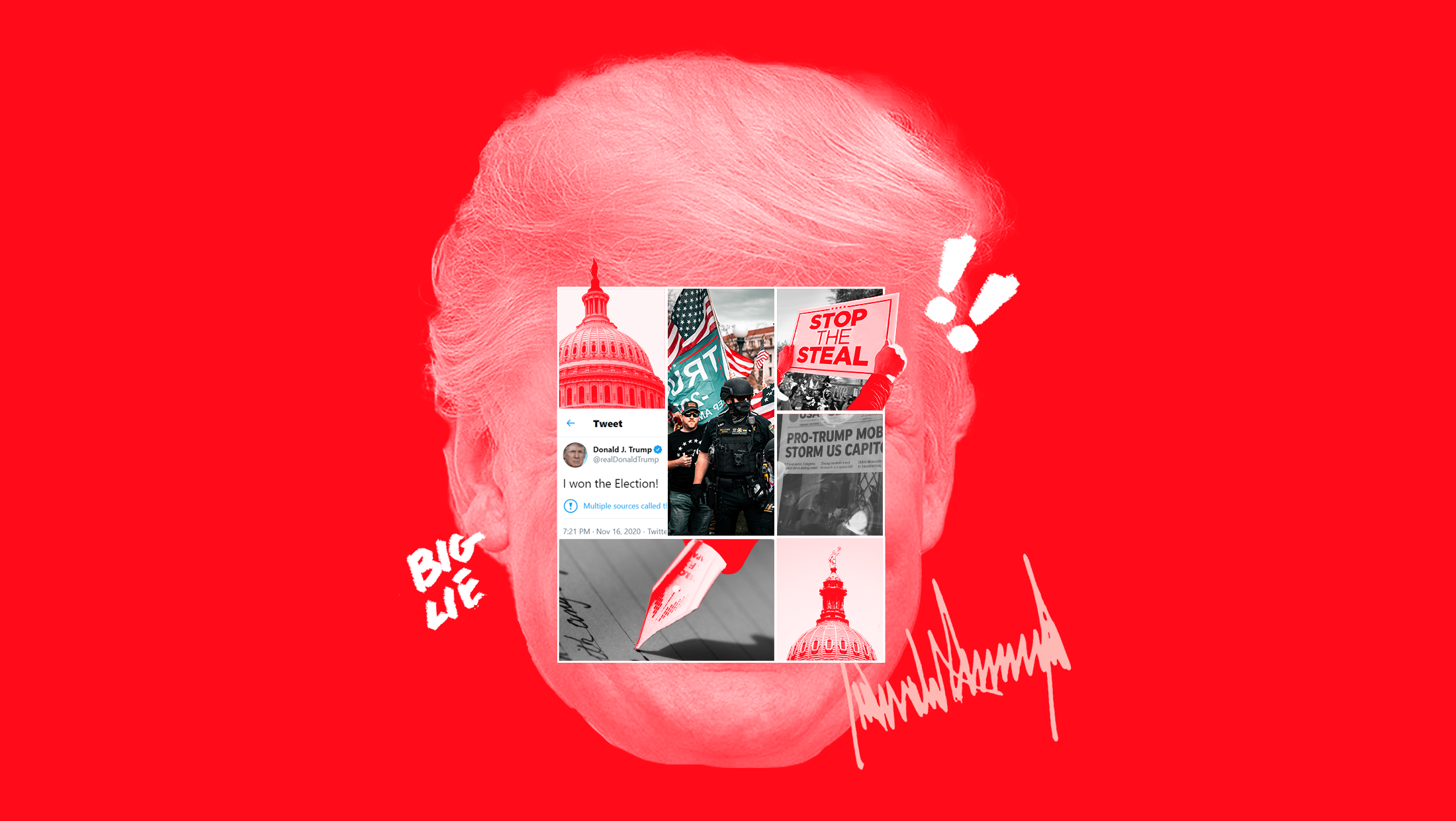 """A collage mounted on top of former President Donald Trump's face featuring the U.S. Capitol, a """"STOP THE STEAL"""" sign, a pen signing a bill into law, a Tweet that says """"I WON THE ELECTION!"""", and scenes from the January 6th insurrection. accompanied by accent marks that include exclamation points, Trump's signature and text that says """"BIG LIE"""""""
